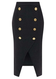 Balmain Double-breasted buttoned wool-blend skirt