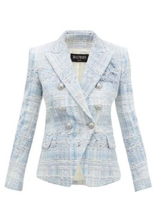 Balmain Double-breasted check-tweed blazer