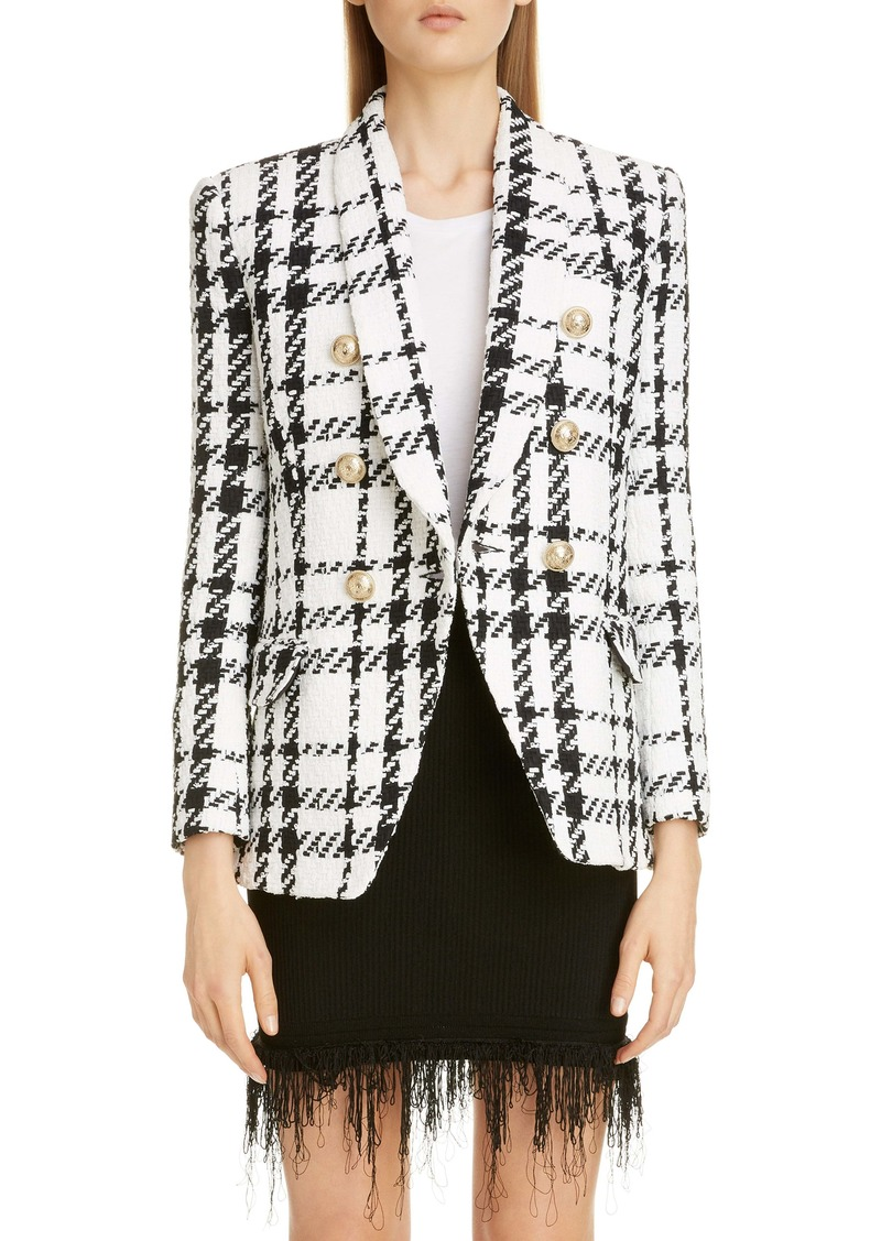 Balmain Double Breasted Check Tweed Jacket