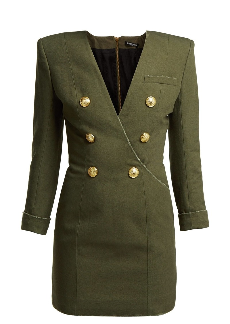 20090645 Balmain Balmain Double-breasted cotton-canvas dress Now $1,020.00