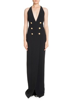 Balmain Double-Breasted Deep V Crepe Evening Gown w/ Slit