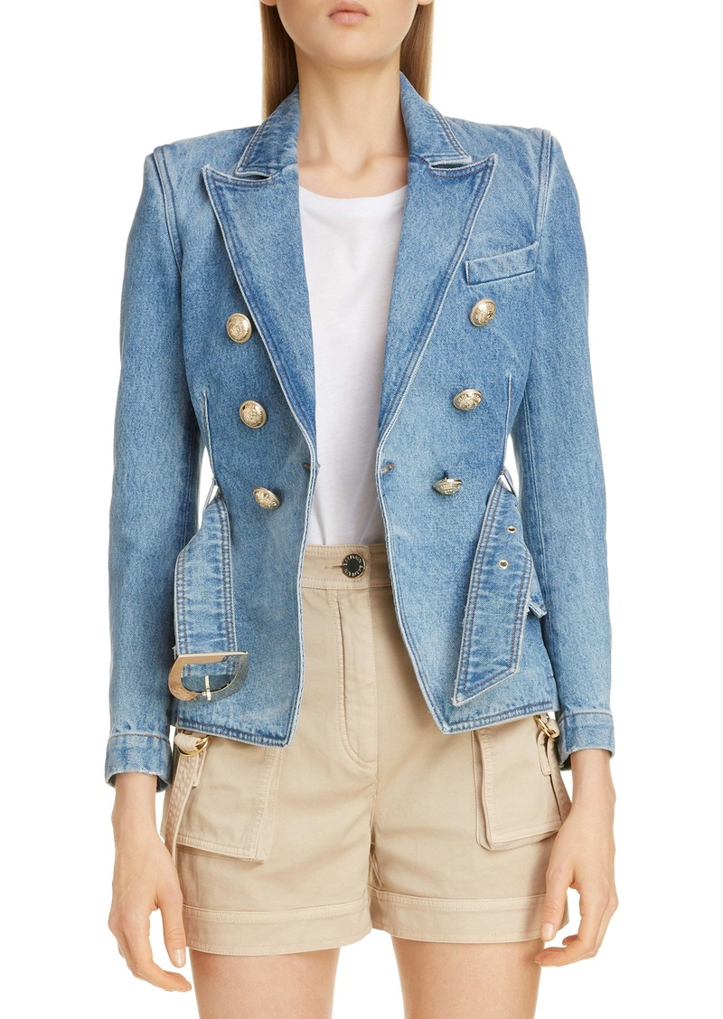 Balmain Double Breasted Denim Jacket