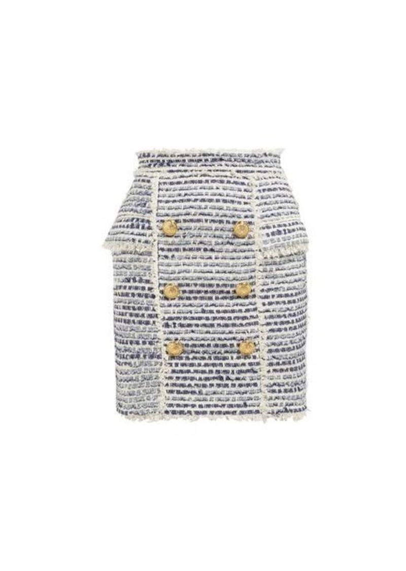 Balmain Double-breasted logo-button tweed skirt