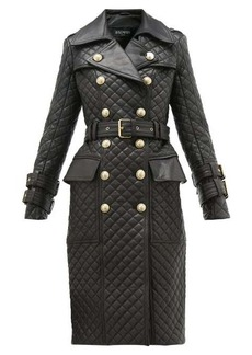 Balmain Double-breasted quilted-leather trench coat