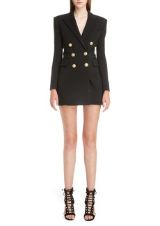 Balmain Double Breasted Wool Blend Blazer Dress