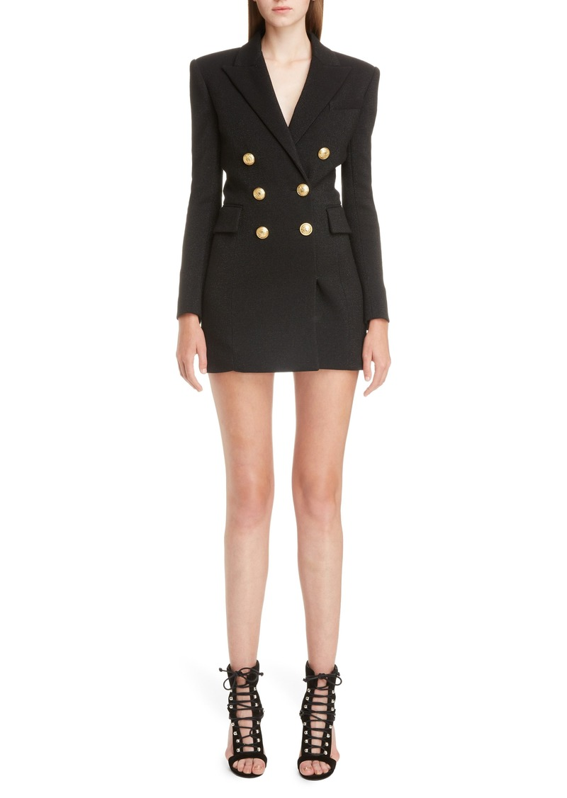 Balmain Double Breasted Wool Blend Blazer Dress