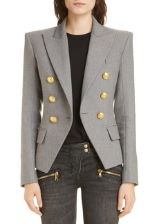 Balmain Double Breasted Wool Blend Jacket