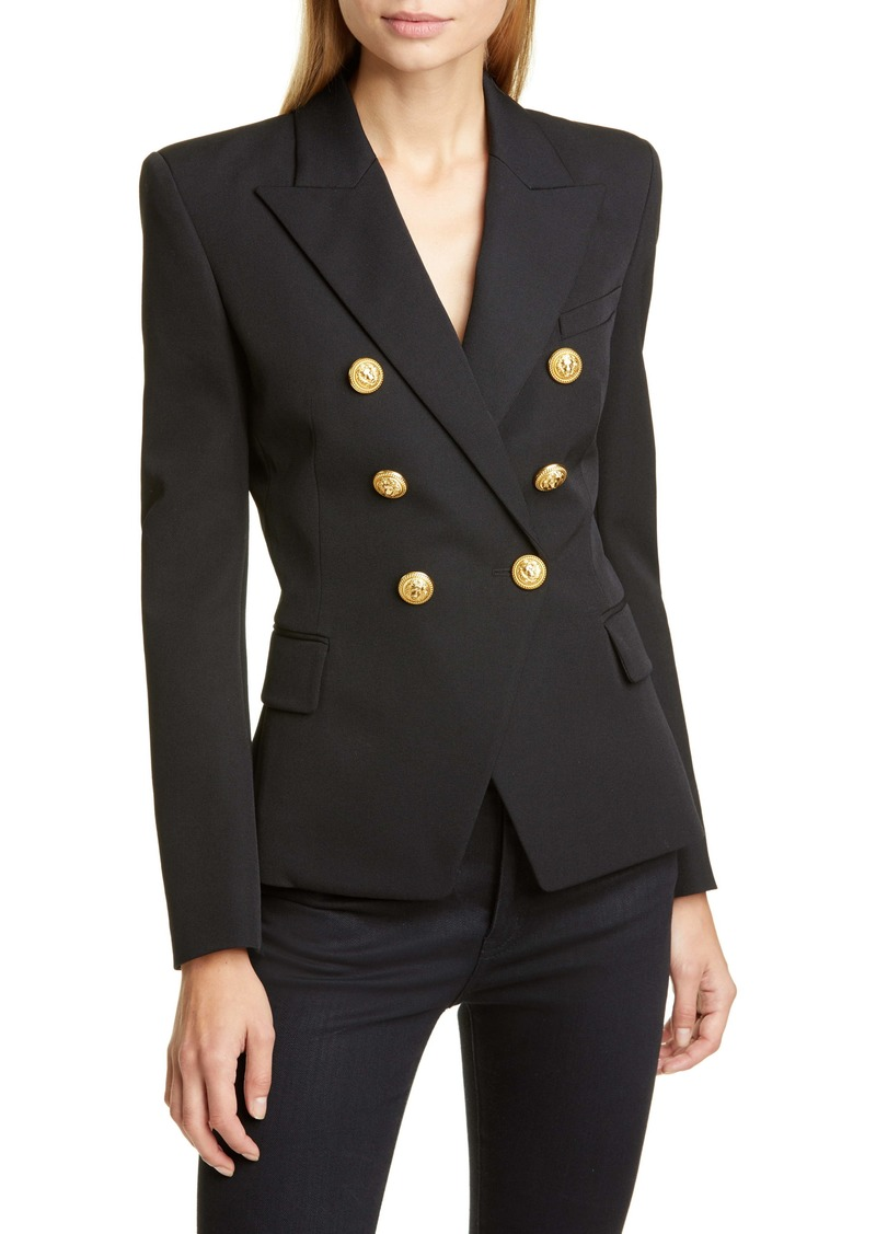 Balmain Double Breasted Wool Gabardine Blazer