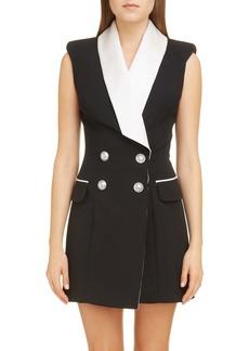 Balmain Double Breasted Wool Tuxedo Minidress