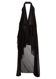 Balmain Draped halterneck stretch-knit wrap dress