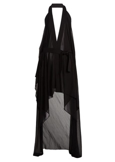 Balmain Draped halterneck stretch-knit wrap dress
