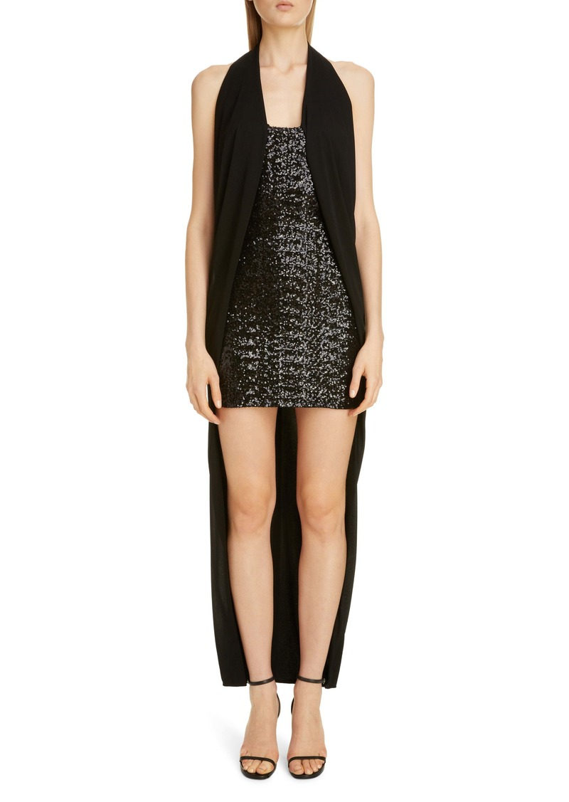 Balmain Draped Sequin Halter High/Low Dress
