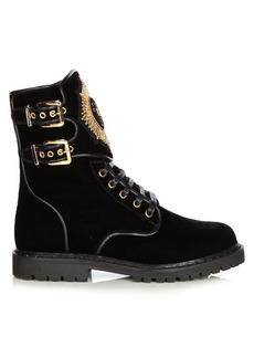 Balmain Eagle velvet ranger boots