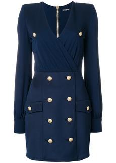 Balmain embellished button dress - Blue