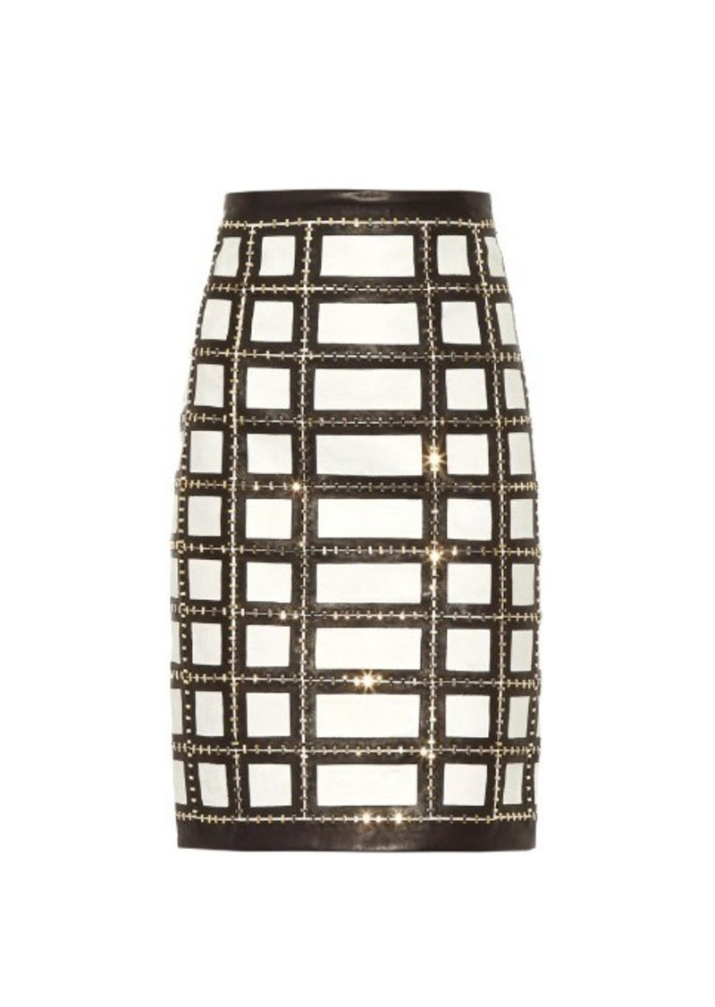 Balmain Embellished grid leather skirt