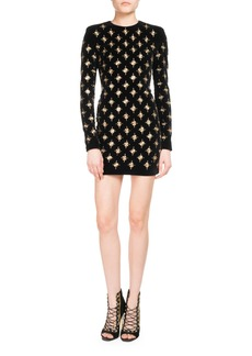 Balmain Embellished Long-Sleeve Minidress