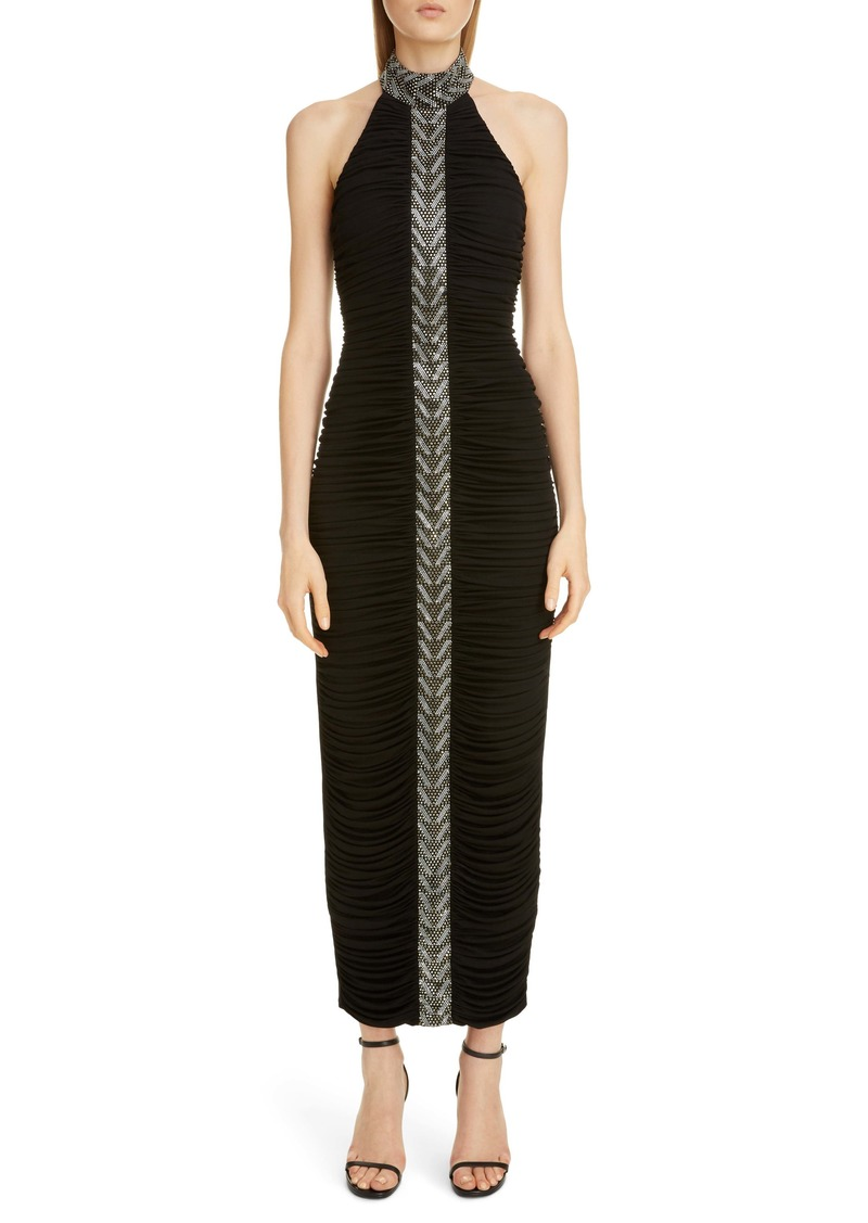 Balmain Embellished Stripe Halter Gown