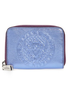 Balmain Embossed Coin Mini Leather Zip Around Wallet