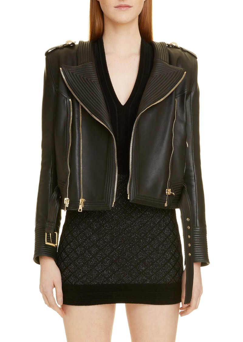 Balmain Epaulet Leather Jacket