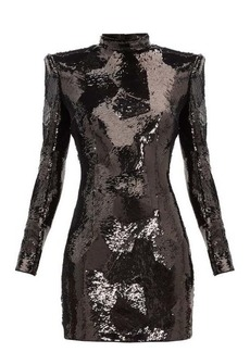 Balmain Exaggerated-shoulder sequinned mini dress