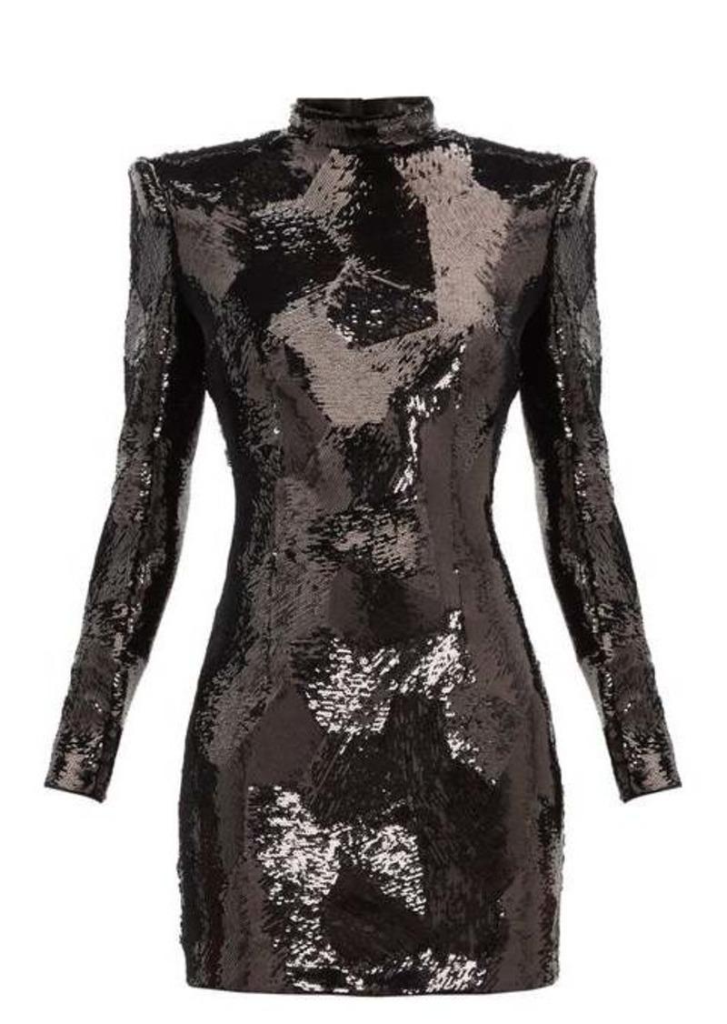 Balmain Exaggerated-shoulder sequinned mini dress