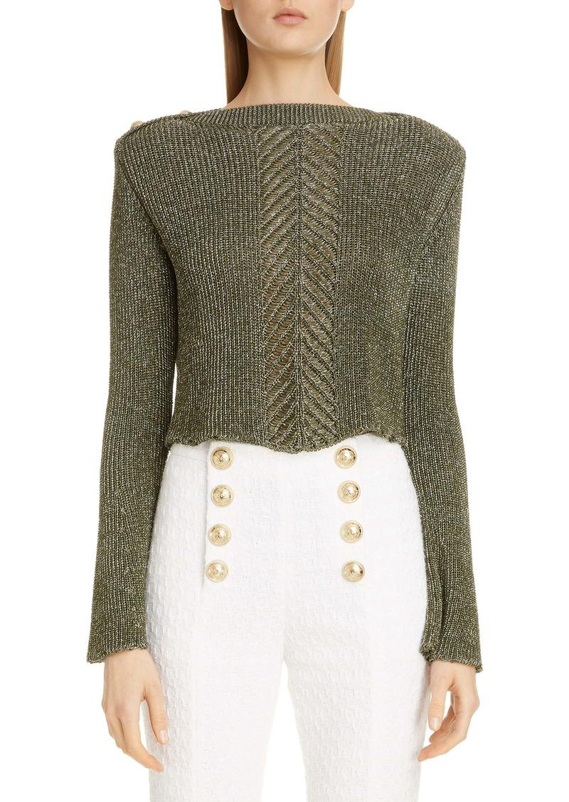 Balmain Flare Sleeve Metallic Cable Crop Sweater