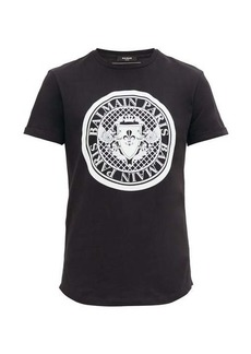 Balmain Flocked-crest cotton-jersey T-shirt