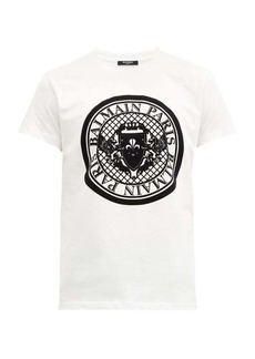Balmain Flocked crest-logo cotton-jersey T-shirt