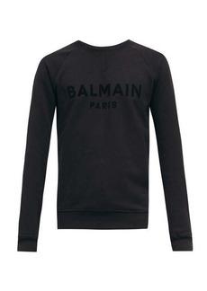 Balmain Flocked-logo cotton-jersey sweatshirt