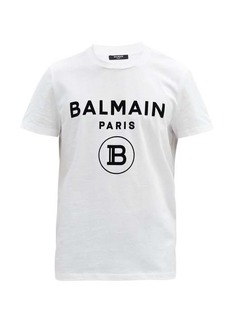 Balmain Flocked-logo cotton-jersey T-shirt