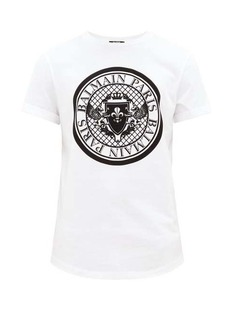 Balmain Flocked-logo cotton T-shirt