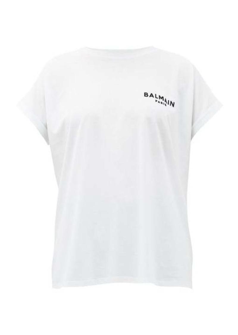 Balmain Flocked logo cotton T-shirt