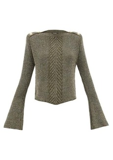 Balmain Fluted-sleeve metallic sweater