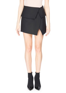 Balmain Fold-Over Asymmetric Miniskirt