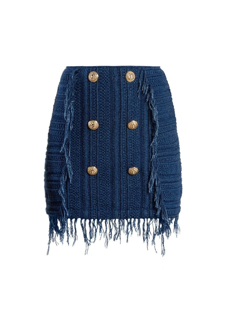 0b90f794 Balmain Balmain Frayed button-embellished tweed mini skirt | Skirts