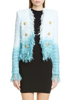 Balmain Fringe Dip Dye Tweed Jacket