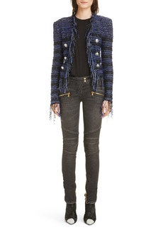 Balmain Fringe Metallic Tweed Jacket
