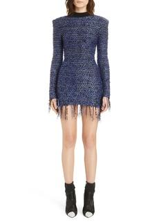 Balmain Fringe Metallic Tweed Minidress
