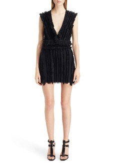 Balmain Fringe Stretch Cotton Minidress