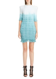 Balmain Fringe Tie Dye Tweed Dress