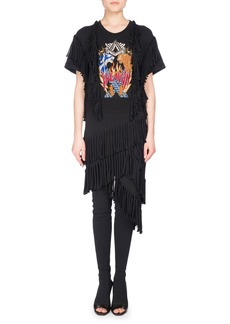 Balmain Fringe-Trim Rocker T-Shirt Dress