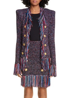 Balmain Fringe Trim Tweed Jacket