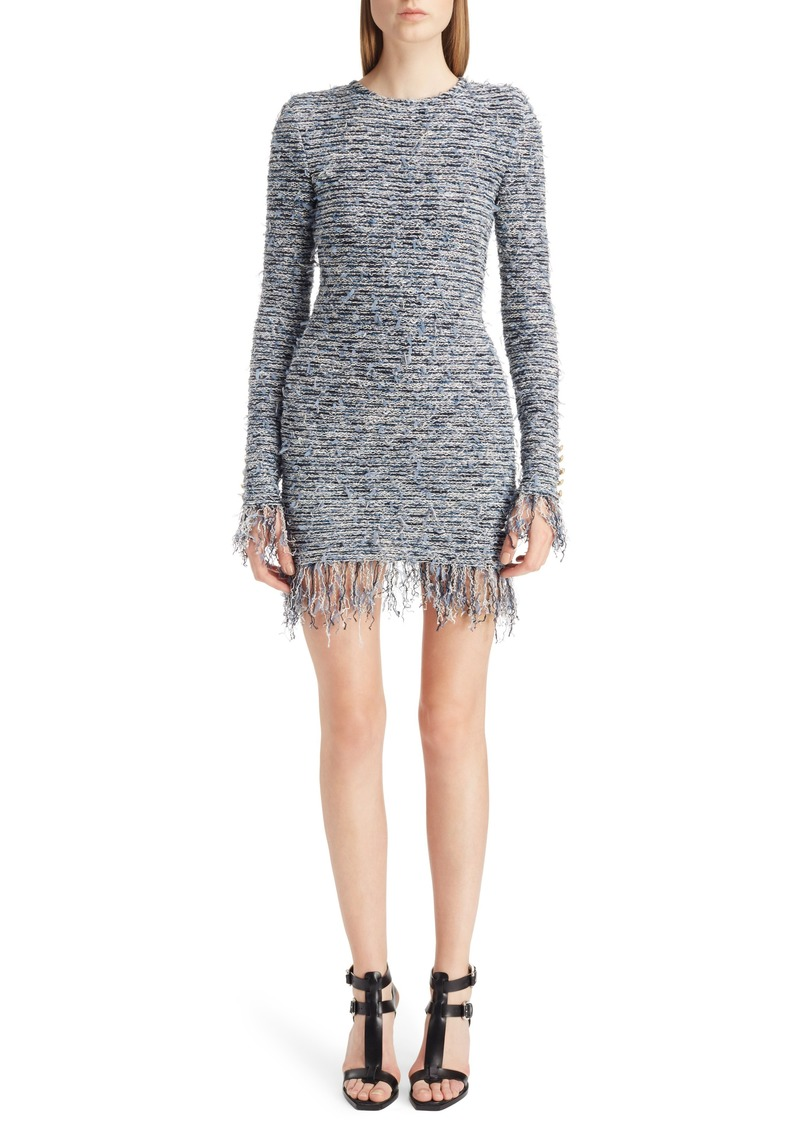 17b26909040694 Balmain Balmain Fringe Tweed Minidress