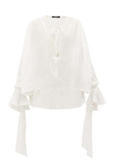 Balmain Gathered-cuff cotton blouse