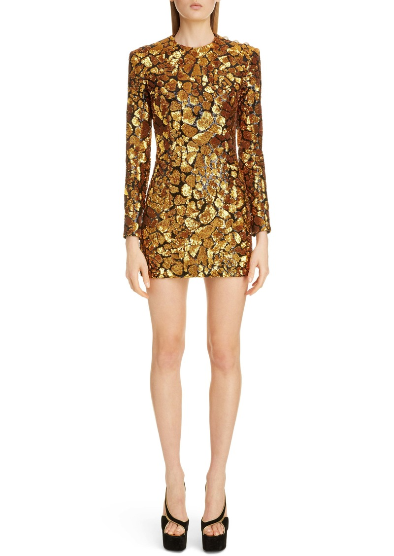 Balmain Giraffe Sequin Long Sleeve Minidress