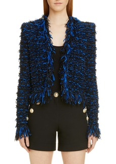 Balmain Glitter Fringe Tweed Jacket
