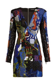 Balmain Graffiti bead-embroidered mini dress