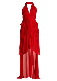 Balmain Halterneck asymmetric jersey wrap dress