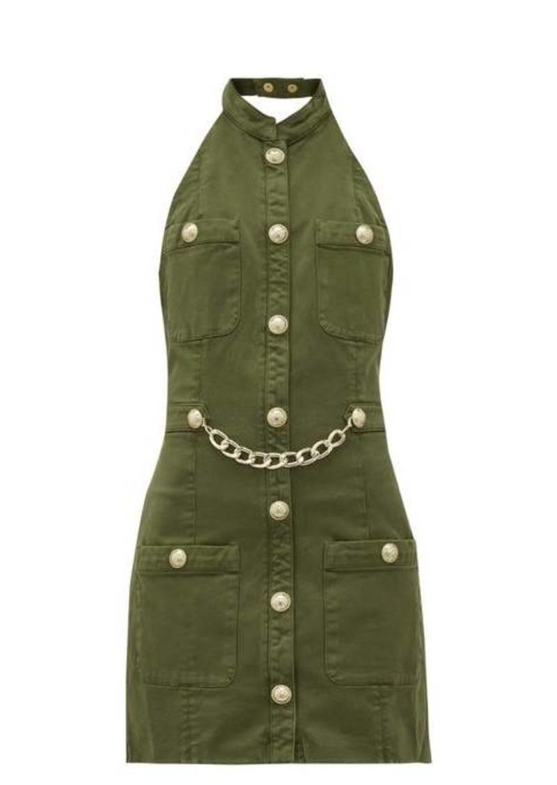 Balmain Halterneck cotton-blend canvas mini dress