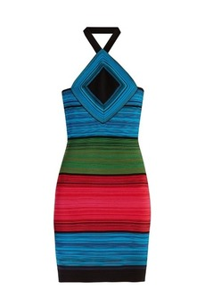 Balmain Halterneck striped mini dress